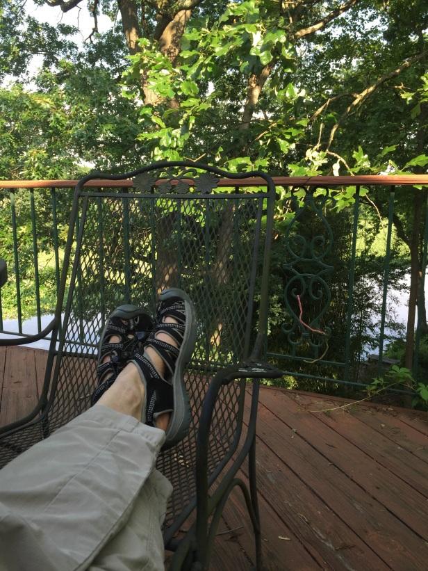 my feet on deck